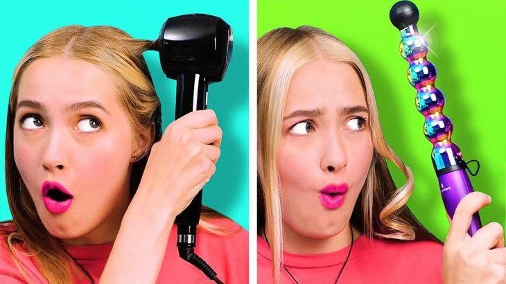 測試奇怪的美容和美髮小工具 || 34個美容技巧和女生化妝小秘訣